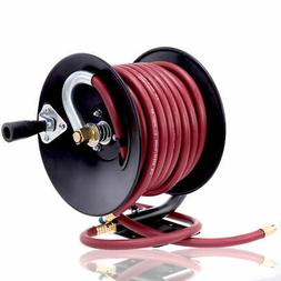 """Manual Air Hose Reel Hand Crank with 3/8"""" x 50ft Rubber Air"""